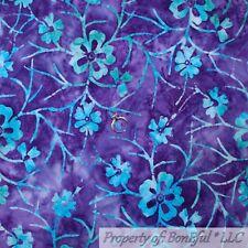 BonEful FABRIC Cotton Quilt Purple Blue Green Leaf BATIK Tonal Flower Sale SCRAP