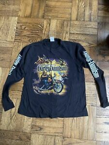 Vintage Harley Davidson On The 8th Day God Created Harley Long Sleeve Crew Neck