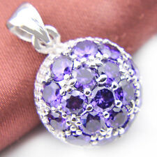 Mother's Day Gift Natural Purple Amethyst Gemstone Silver Necklace Pendants