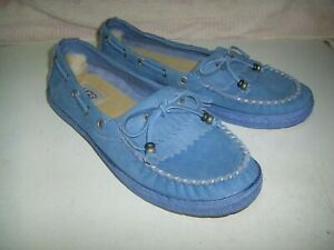 UGG Women's Blue Round Toe Leather Comfort Slip On Loafer Shoes Size US 7