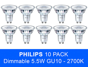10x Philips LED 5.5W GU10 Glass Dimmable Spot Light Replacement for 50 Watt