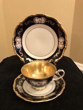 Reichenbach Echt Kobalt Tea Cup, Saucer And Dessert Plate