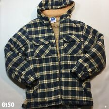 Mens Hooded Fleece Zip Up Blue Brown Check Jacket Size S P-P 21 Length 27