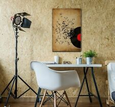 wall26 - Music Canvas Wall Art - Vinyl Record and Music Notes - 16x24 inches