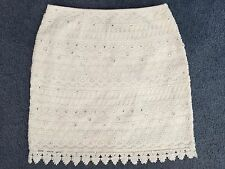 Forever New white ivory sparkly silver rhinestones sequin lace skirt size 6