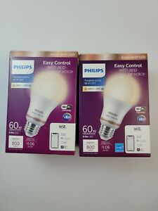 2 - Philips Tunable White A19 LED 60W Equiv Smart Wi-Fi Wiz Connected Light Bulb