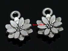 Wholesale lot 20pcs Tibet silver lotus Jewelry Finding charm pendant 14x10mm