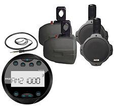 "4 Marine 6.5"" Wake Board Speakers,Bluetooth AM FM AUX Round Radio,Marine Antenna"