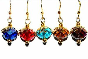 SPARKLING AB EARRINGS * Ruby Sapphire Topaz Turquoise Amethyst Colors H32
