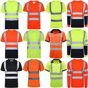 Hi Vis Viz Visibility T-Shirt Polo Safety Security Work Shirts Reflective Tape