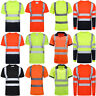 Hi Vis Viz Visibility T-Shirt Polo Safety Security Work Shirts Reflective Tape