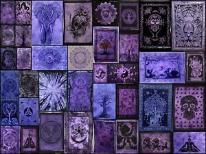 Purple Beautiful Color Walll Hanging Cotton Textile Indian Tapestry Poster Art