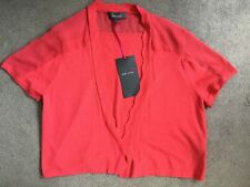 M&S CORAL SHORT SLEEVE CARDIGAN THAT HAS SHEER FABRIC ACROSS TOP-SIZE 14- BNWT
