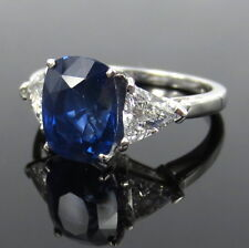 3.57ct Cornflower Blue Sapphire & 0.62ct Diamond Platinum Ring Size 5 -5.25