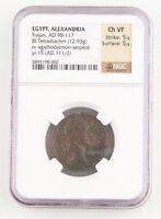 111-112 AD Roman Egypt Billon Tetradrachm CH-VF NGC Trajan Agathodaemon Serpent