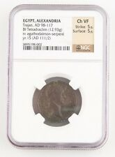 111-112 AD Romain Égypte Billon Tetradrachm ch-vf NGC Trajan agathodaemon