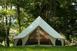 AVALON Canvas Bell Tent 4M Waterproof w/Stove Jack Glamping Camping Outdoor Tent