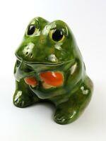 Vintage Ceramic Hand Painted Planter, Patina Green Frog Holding Orange Mushrooms