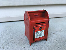Vintage Miniature Red Tin US Mailbox Bank No Key Made In Japan