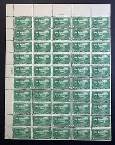 US #617 1925 1c Lexington-Concord Full Sheet of 50. MNH VF *No Perf Tear*