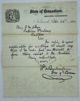 CIVIL WAR 1864 LTR SIGNED GOV OF CT WM BUCKINGHAM PUTNAM PHALANX MAJ  T M ALLYN