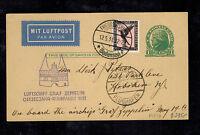 1931 Germany Graf Zeppelin Postcard Cover to USA Baltic Sea Flight LZ 127