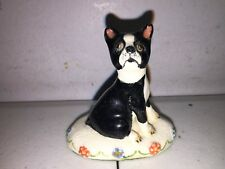 Rare Basil Matthews Seated Boston Terrier Dog Signed Figurine Sculpture