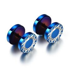 1 Pair Blue Stainless Steel Geometric Pattern Mens Boys Round Stud Earrings Cool