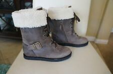 NEW KOOLABURRA Jovi Moto Style Leather Lace Up Shearling Boots Wetsand SZ 7 $295