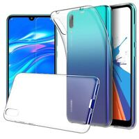 For Huawei Y7 Pro (2019) Case Clear Slim Gel Cover & Glass Screen Protector