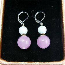 BAILYSBEADS Pfirsichblüte Jade /& Lavendelquarz Ohrringe 925er Silber Ohrhaken