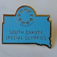 South Dakota Special Olympics Lapel Pin Blue-Colored Map-Shaped