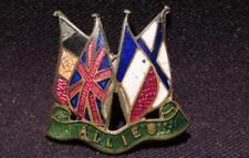Allies WWI Era Brass & Enamel Pin 4 Flags Germany, England, France & Scotland