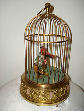 "Vintage Collectible Unique Rare German Mechanical Singing Birds Cage 11.5"" Tall"