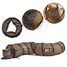 Cat Play Tunnel S Shape Kitty Collapsible Crinkle Animal Rabbit Tunnel Toy Brown