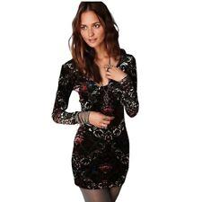 Free People Burnout Velvet Bodycon Mini Dress Long Sleeve Floral V Neck Size L
