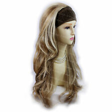 Wiwigs Blonde Brown Long Layered Wavy 3/4 Fall Hairpiece Half Ladies Wig