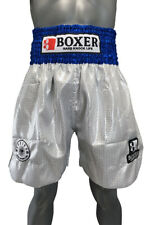 Boxer Long Lame Trunks Blue / Silver Free Shipping from Japan S-Xl Boxing New