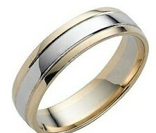 MENS 10K WHITE AND YELLOW TWO TONE GOLD WEDDING BANDS RING 6MM~FREE ENGRAVING