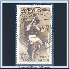 1934 Italia Regno Mondiali Calcio L. 5 + 2,50 bruno n. 361 Usato