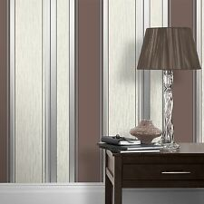 Synergy Rayures Pailleté Papier Peint Chocolat Marron - Vymura M0802 Neuf