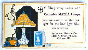 Vintage Blotter Advertising Mazda Lamps Electric Light Bulb Chicago Pink Back