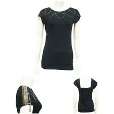 EX A-WEAR Navy Blue Chain Detail Top. Sz 8,10,12,14,16,18. Party, Beaded