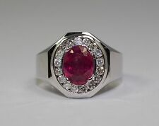 Men's 14k White Gold Oval Cut Red Ruby And White Round Diamond Halo Ring Size 9