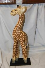 Hand Carved Painted Wood Giraffe Carvings from Bali Indonesia