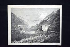 Lungo la Ferrovia del Gottardo - Ponte della Reuss Wattingen Incisione del 1882