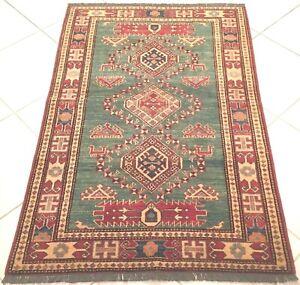 Afghan Teppich Kazak Turkmen Handgeknüpft Grün Orient Carpet Rug Alfombra Tapis