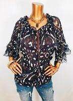 Cynthia Steffe L NWT $148 Top Blouse 3/4 Bell Sheer Silk Scoop Strings Keyhole