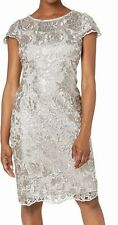 Alex Evenings Womens Dress Taupe Beige 16 Sequined Embroidered Sheath $189 081