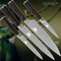 4Pcs Knife Set Kitchen 4 Knives Chef Slicing Utility Pairing Damascus Steel Cook